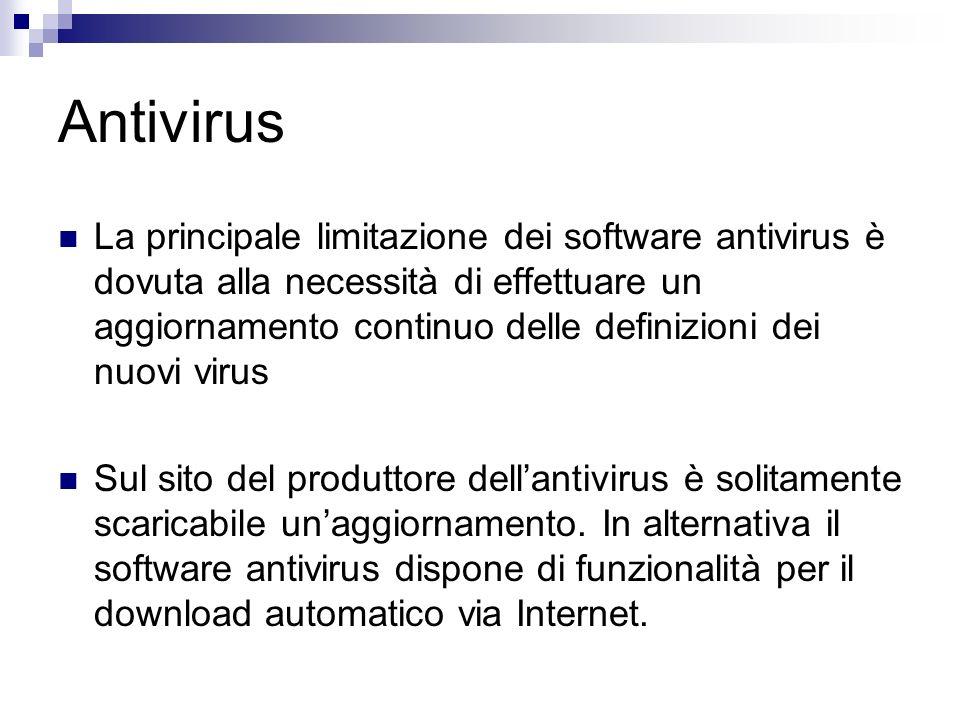 Antivirus La principale limitazione dei software antivirus è dovuta alla necessità di effettuare un aggiornamento continuo delle definizioni dei nuovi virus Sul sito del produttore dellantivirus è solitamente scaricabile unaggiornamento.