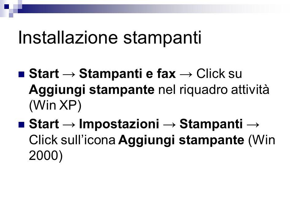 Installazione stampanti Start Stampanti e fax Click su Aggiungi stampante nel riquadro attività (Win XP) Start Impostazioni Stampanti Click sullicona Aggiungi stampante (Win 2000)