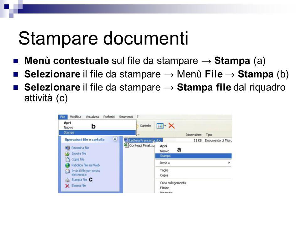 Stampare documenti Menù contestuale sul file da stampare Stampa (a) Selezionare il file da stampare Menù File Stampa (b) Selezionare il file da stampare Stampa file dal riquadro attività (c)