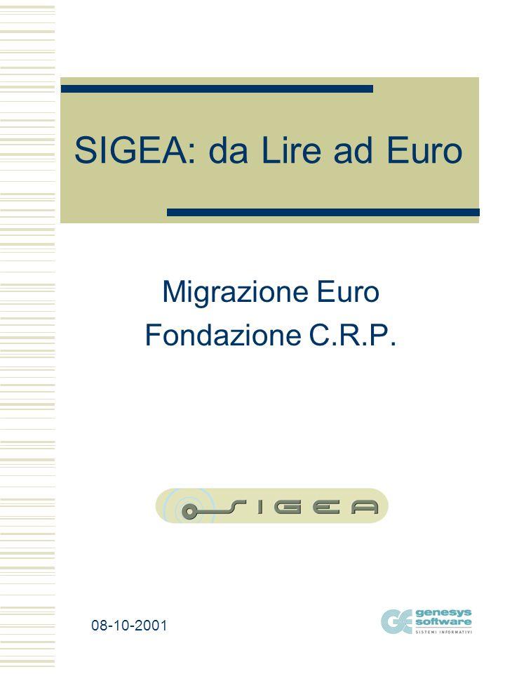 SIGEA: da Lire ad Euro Migrazione Euro Fondazione C.R.P. 08-10-2001