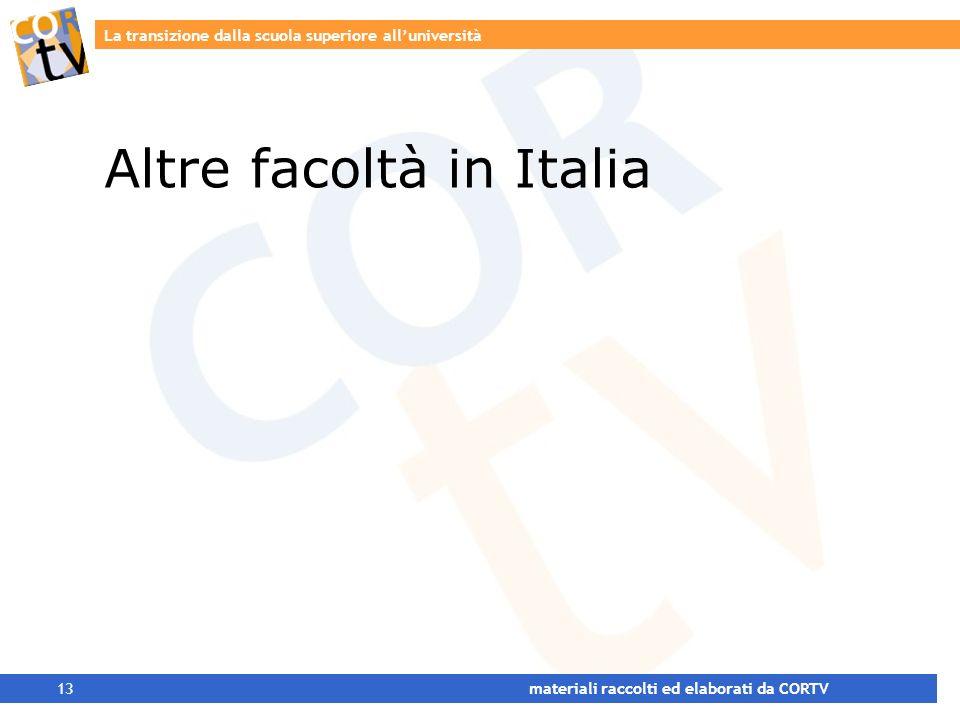La transizione dalla scuola superiore alluniversità 13 materiali raccolti ed elaborati da CORTV Altre facoltà in Italia