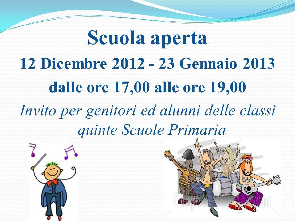 Scuola aperta 12 Dicembre 2012 - 23 Gennaio 2013 dalle ore 17,00 alle ore 19,00 Invito per genitori ed alunni delle classi quinte Scuole Primaria