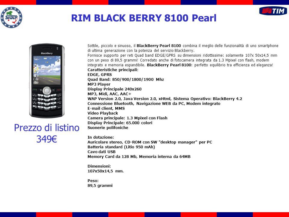 Sottile, piccolo e sinuoso, il BlackBerry Pearl 8100 combina il meglio delle funzionalità di uno smartphone di ultima generazione con la potenza del servizio Blackberry.