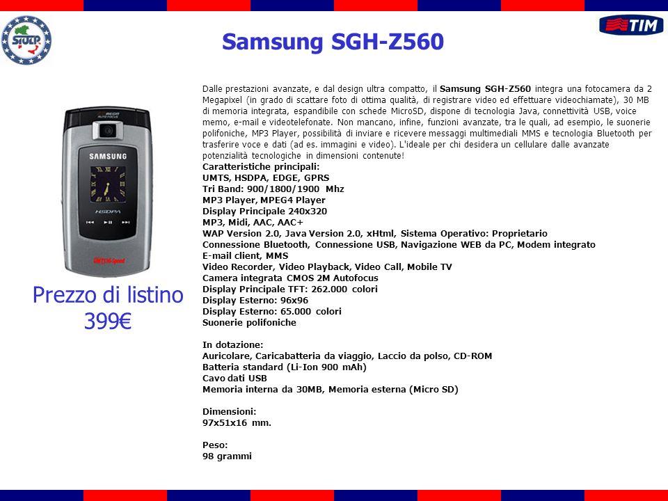 Dalle prestazioni avanzate, e dal design ultra compatto, il Samsung SGH-Z560 integra una fotocamera da 2 Megapixel (in grado di scattare foto di ottim