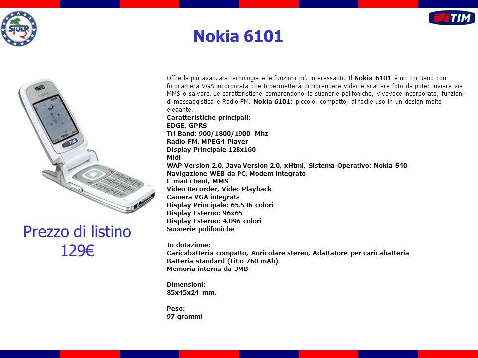 Offre la più avanzata tecnologia e le funzioni più interessanti. Il Nokia 6101 è un Tri Band con fotocamera VGA incorporata che ti permetterà di ripre