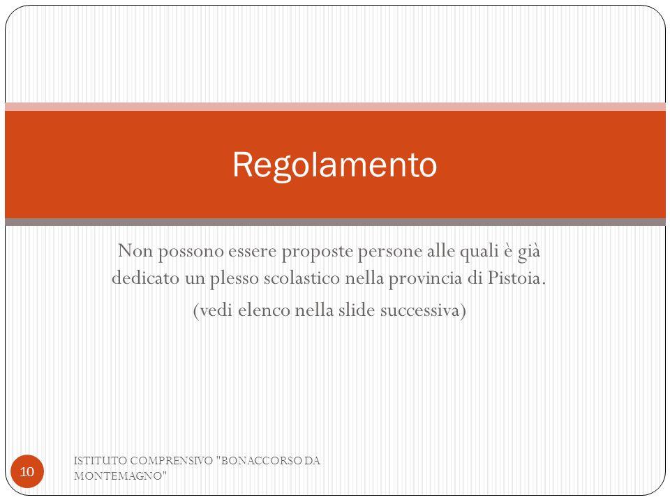 Non possono essere proposte persone alle quali è già dedicato un plesso scolastico nella provincia di Pistoia. (vedi elenco nella slide successiva) IS