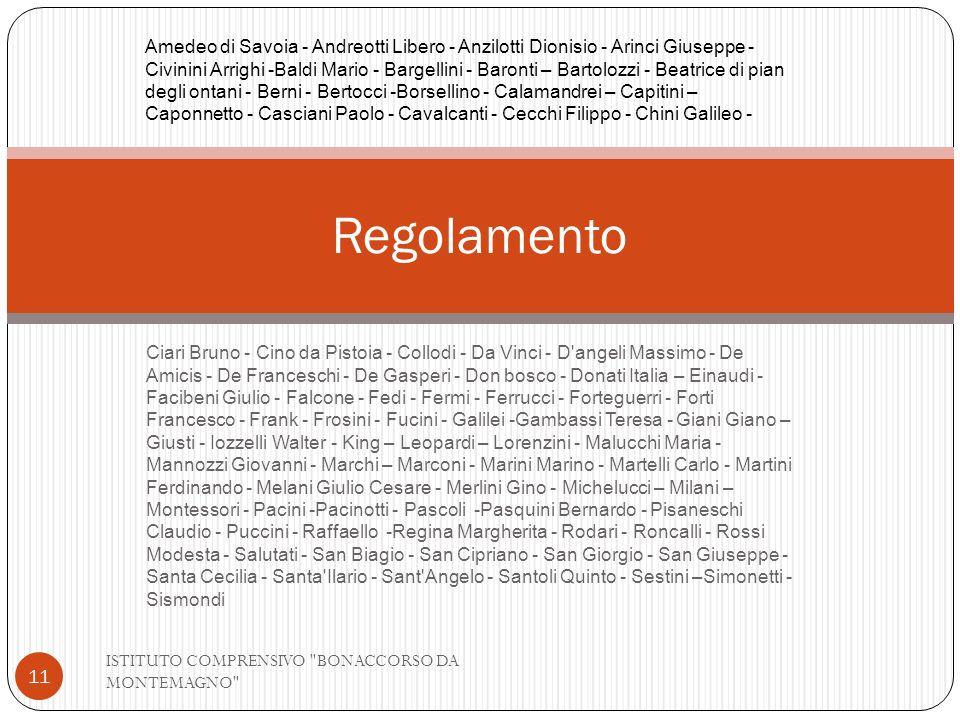 Ciari Bruno - Cino da Pistoia - Collodi - Da Vinci - D'angeli Massimo - De Amicis - De Franceschi - De Gasperi - Don bosco - Donati Italia – Einaudi -