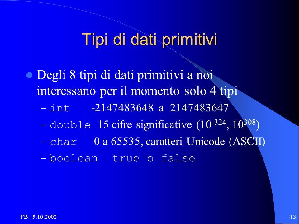 FB - 5.10.200213 Tipi di dati primitivi Degli 8 tipi di dati primitivi a noi interessano per il momento solo 4 tipi – int -2147483648 a 2147483647 – double 15 cifre significative (10 -324, 10 308 ) – char 0 a 65535, caratteri Unicode (ASCII) – boolean true o false