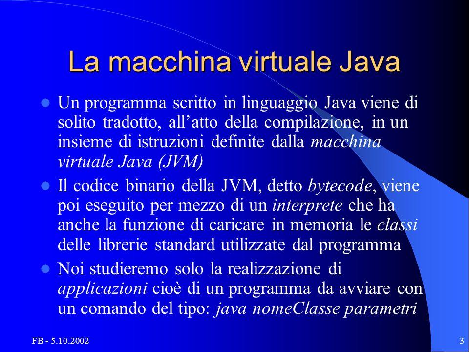 FB - 5.10.20023 La macchina virtuale Java Un programma scritto in linguaggio Java viene di solito tradotto, allatto della compilazione, in un insieme di istruzioni definite dalla macchina virtuale Java (JVM) Il codice binario della JVM, detto bytecode, viene poi eseguito per mezzo di un interprete che ha anche la funzione di caricare in memoria le classi delle librerie standard utilizzate dal programma Noi studieremo solo la realizzazione di applicazioni cioè di un programma da avviare con un comando del tipo: java nomeClasse parametri