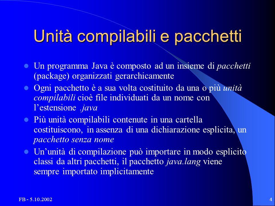 FB - 5.10.20024 Unità compilabili e pacchetti Un programma Java è composto ad un insieme di pacchetti (package) organizzati gerarchicamente Ogni pacch
