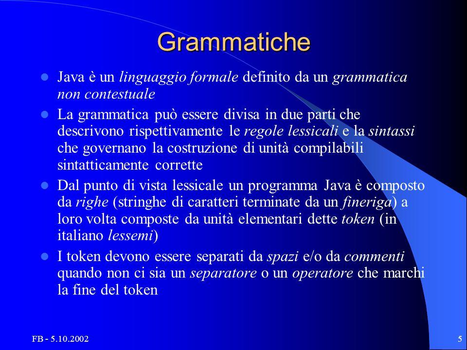 FB - 5.10.20025 Grammatiche Java è un linguaggio formale definito da un grammatica non contestuale La grammatica può essere divisa in due parti che descrivono rispettivamente le regole lessicali e la sintassi che governano la costruzione di unità compilabili sintatticamente corrette Dal punto di vista lessicale un programma Java è composto da righe (stringhe di caratteri terminate da un fineriga) a loro volta composte da unità elementari dette token (in italiano lessemi) I token devono essere separati da spazi e/o da commenti quando non ci sia un separatore o un operatore che marchi la fine del token