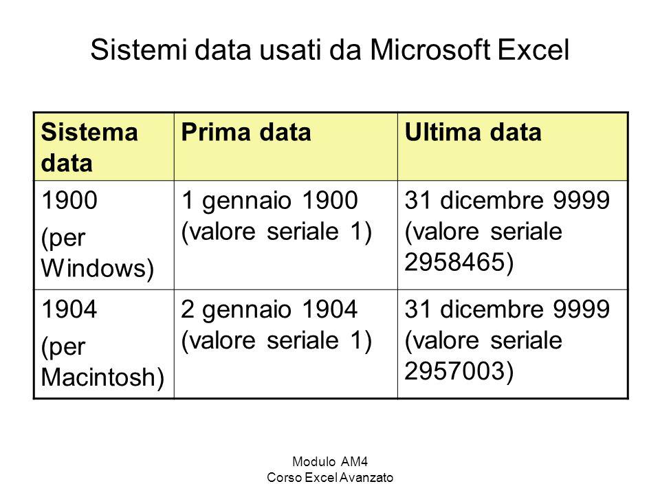Modulo AM4 Corso Excel Avanzato Sistemi data usati da Microsoft Excel Sistema data Prima dataUltima data 1900 (per Windows) 1 gennaio 1900 (valore ser
