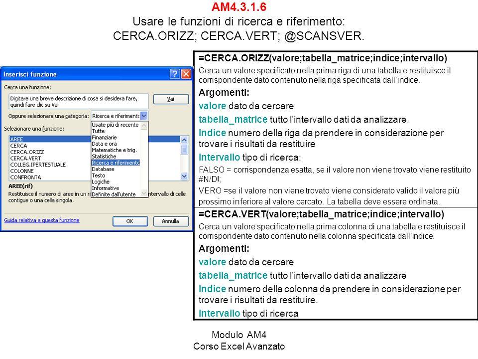 Modulo AM4 Corso Excel Avanzato AM4.3.1.6 Usare le funzioni di ricerca e riferimento: CERCA.ORIZZ; CERCA.VERT; @SCANSVER. =CERCA.ORIZZ(valore;tabella_