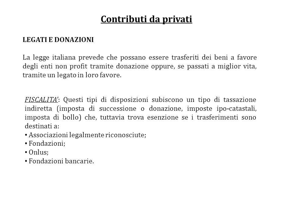 Contributi da privati LEGATI E DONAZIONI La legge italiana prevede che possano essere trasferiti dei beni a favore degli enti non profit tramite donaz