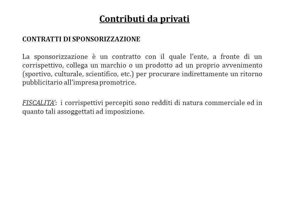 Contributi da privati CONTRATTI DI SPONSORIZZAZIONE La sponsorizzazione è un contratto con il quale lente, a fronte di un corrispettivo, collega un ma