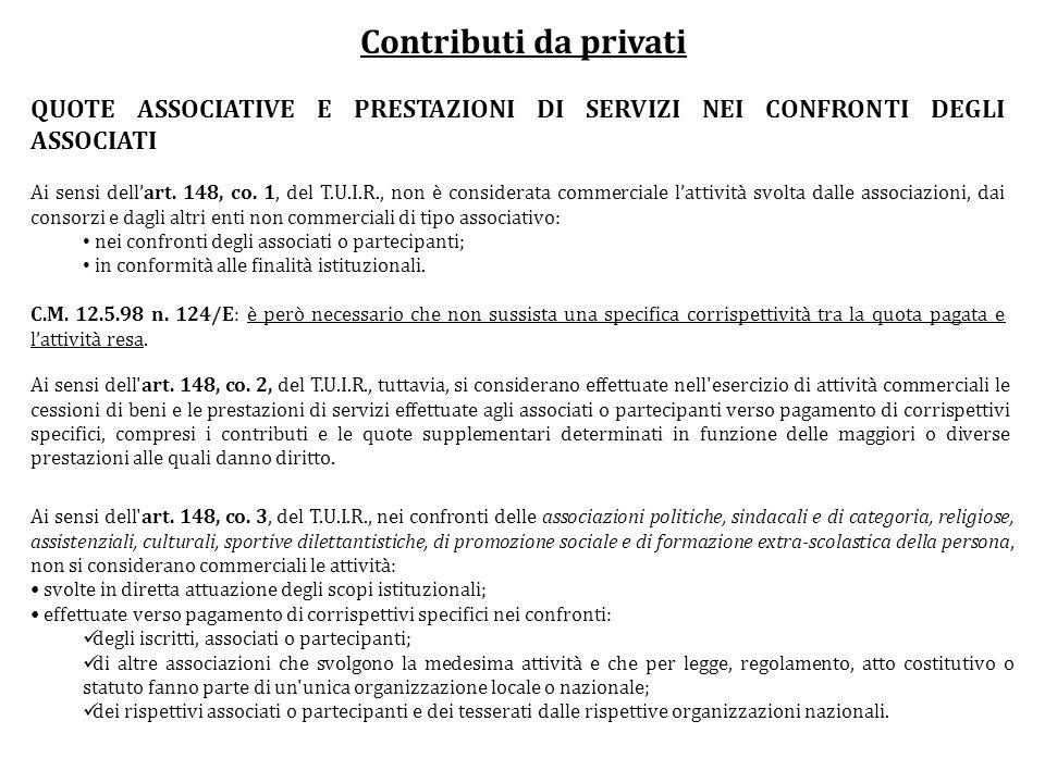 Contributi da privati QUOTE ASSOCIATIVE E PRESTAZIONI DI SERVIZI NEI CONFRONTI DEGLI ASSOCIATI Ai sensi dellart. 148, co. 1, del T.U.I.R., non è consi
