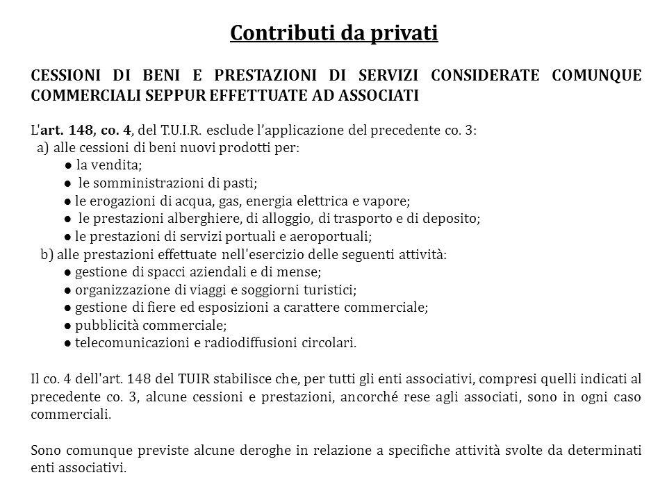 Contributi da privati CESSIONI DI BENI E PRESTAZIONI DI SERVIZI CONSIDERATE COMUNQUE COMMERCIALI SEPPUR EFFETTUATE AD ASSOCIATI L'art. 148, co. 4, del