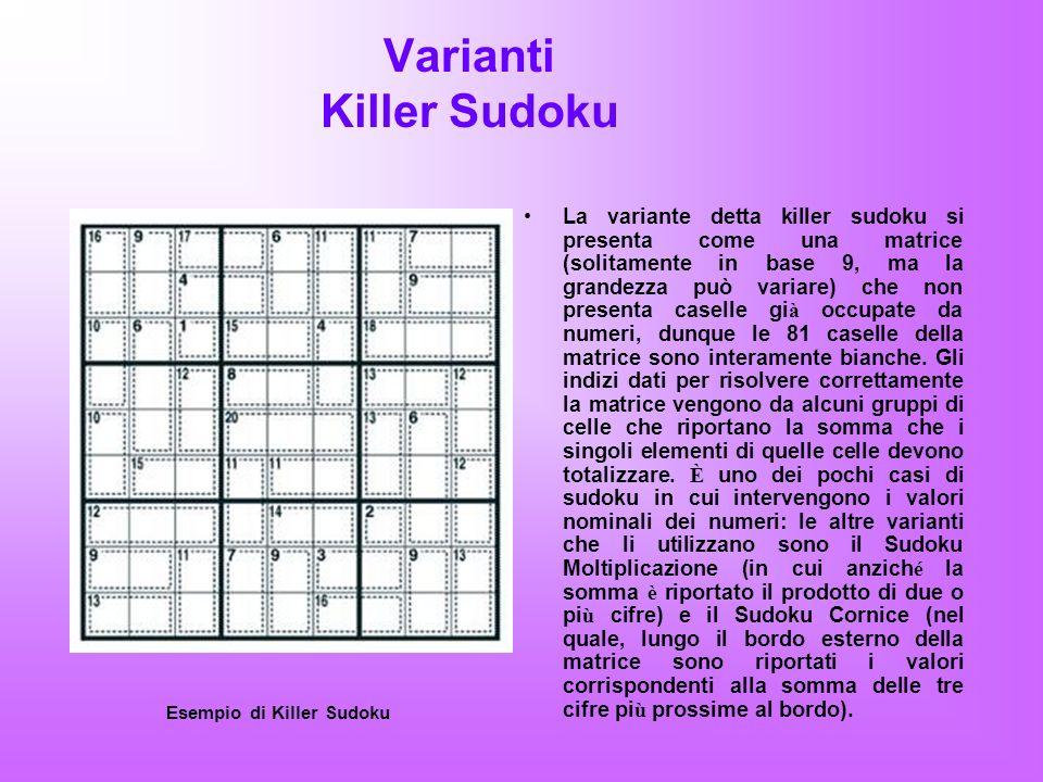 Sudoku X La variante detta xSudoku o Sudoku Diagonale o anche Sudoku X si presenta con una matrice lungo le quali sono evidenziate le due diagonali maggiori, ciascuna di 9 caselle di lunghezza.