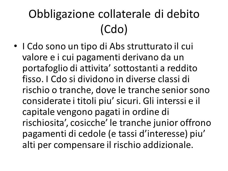 Obbligazione collaterale di debito (Cdo) I Cdo sono un tipo di Abs strutturato il cui valore e i cui pagamenti derivano da un portafoglio di attivita