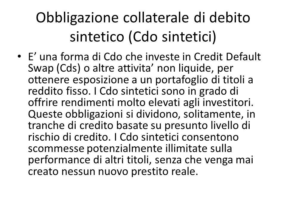 Obbligazione collaterale di debito sintetico (Cdo sintetici) E una forma di Cdo che investe in Credit Default Swap (Cds) o altre attivita non liquide,