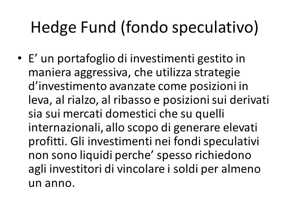 Hedge Fund (fondo speculativo) E un portafoglio di investimenti gestito in maniera aggressiva, che utilizza strategie dinvestimento avanzate come posi