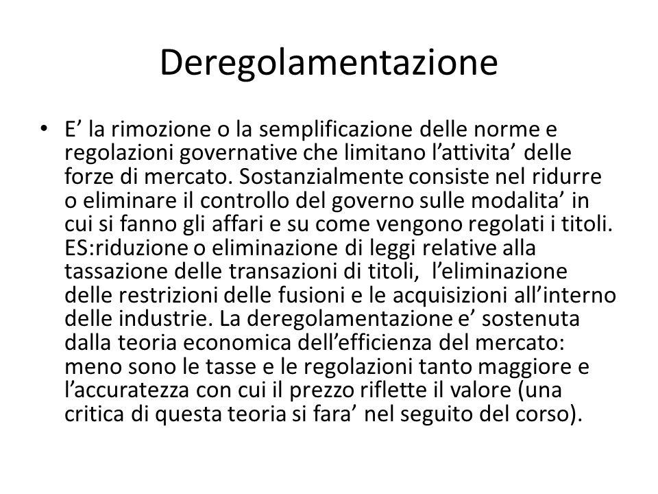 Deregolamentazione E la rimozione o la semplificazione delle norme e regolazioni governative che limitano lattivita delle forze di mercato. Sostanzial