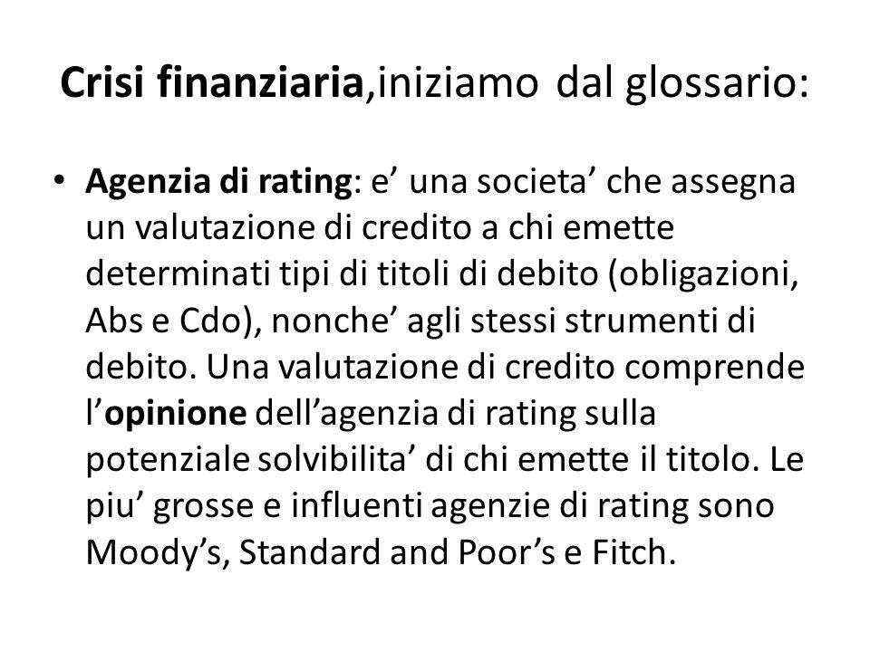 Crisi finanziaria,iniziamo dal glossario: Agenzia di rating: e una societa che assegna un valutazione di credito a chi emette determinati tipi di tito