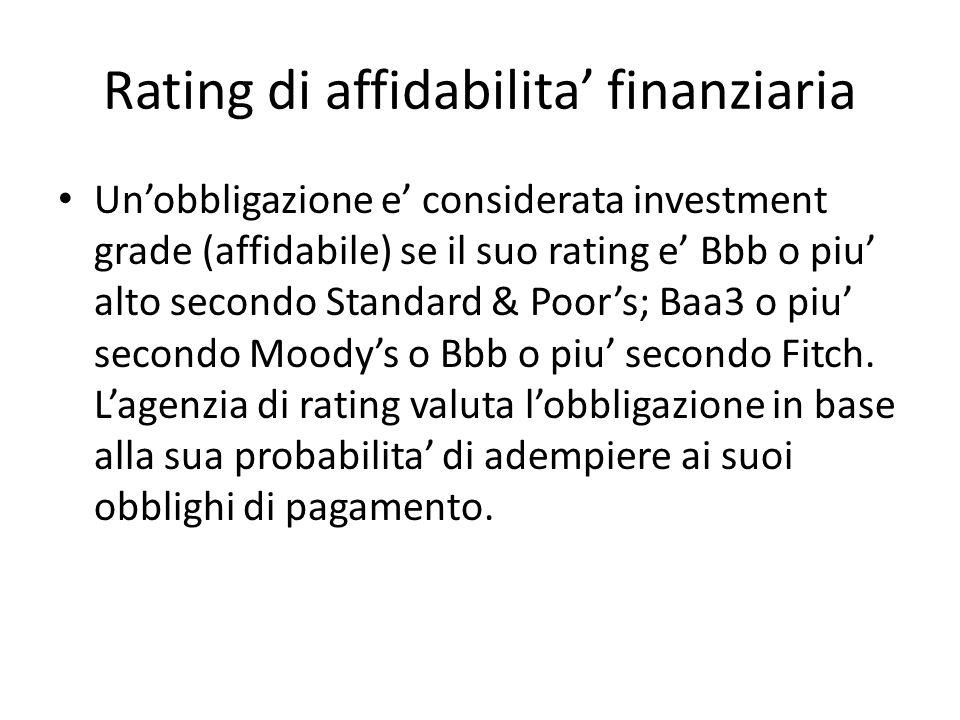 Rating di affidabilita finanziaria Unobbligazione e considerata investment grade (affidabile) se il suo rating e Bbb o piu alto secondo Standard & Poo