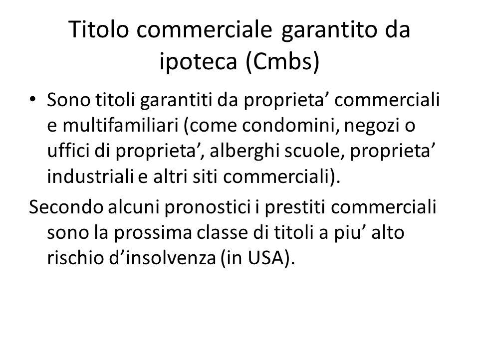 Titolo commerciale garantito da ipoteca (Cmbs) Sono titoli garantiti da proprieta commerciali e multifamiliari (come condomini, negozi o uffici di pro