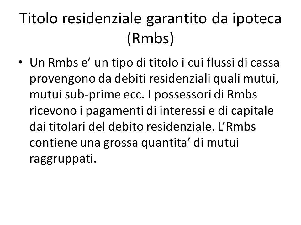 Titolo residenziale garantito da ipoteca (Rmbs) Un Rmbs e un tipo di titolo i cui flussi di cassa provengono da debiti residenziali quali mutui, mutui
