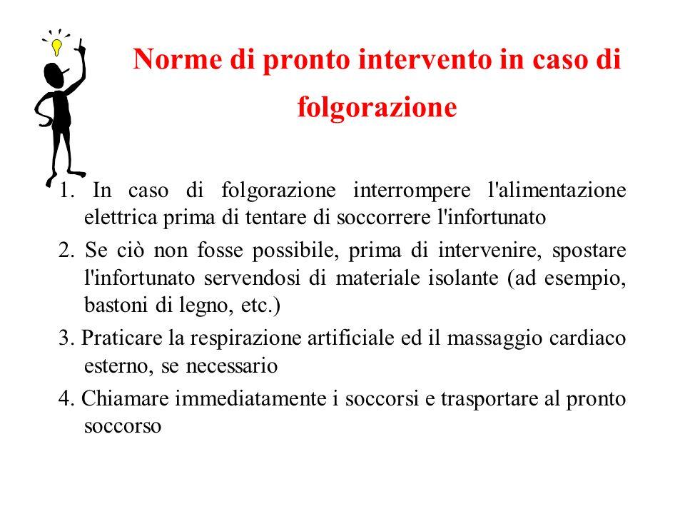 Norme di pronto intervento in caso di folgorazione 1.