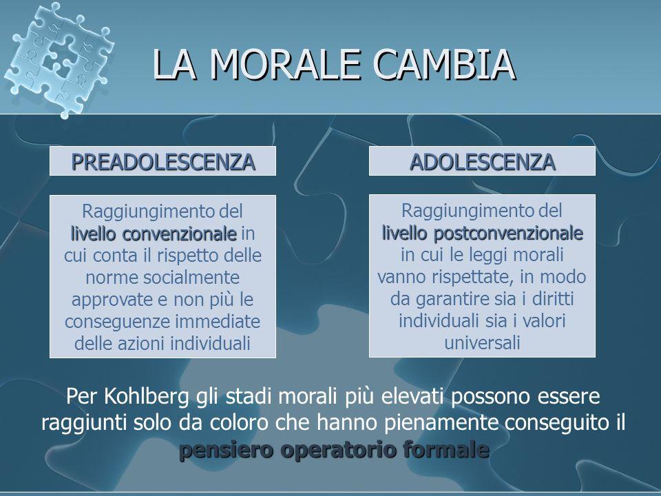 LA MORALE CAMBIA PREADOLESCENZA livello convenzionale Raggiungimento del livello convenzionale in cui conta il rispetto delle norme socialmente approv