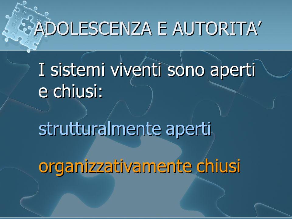 ADOLESCENZA E AUTORITA I sistemi viventi sono aperti e chiusi: strutturalmente aperti organizzativamente chiusi I sistemi viventi sono aperti e chiusi