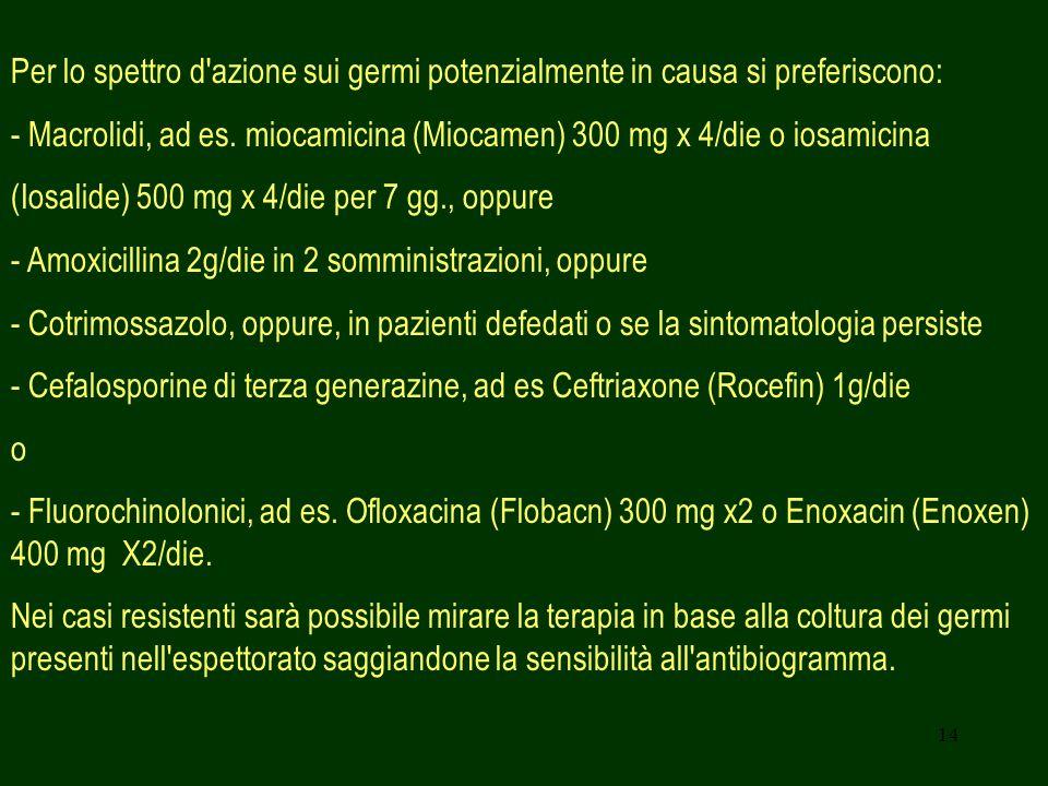 14 Per lo spettro d'azione sui germi potenzialmente in causa si preferiscono: - Macrolidi, ad es. miocamicina (Miocamen) 300 mg x 4/die o iosamicina (