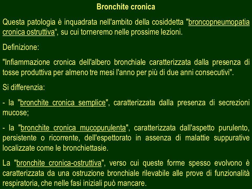 15 Bronchite cronica Questa patologia è inquadrata nell ambito della cosiddetta broncopneumopatia cronica ostruttiva, su cui torneremo nelle prossime lezioni.