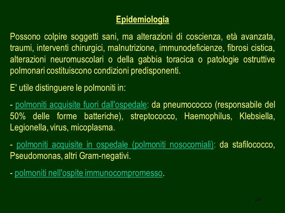 28 Epidemiologia Possono colpire soggetti sani, ma alterazioni di coscienza, età avanzata, traumi, interventi chirurgici, malnutrizione, immunodeficie