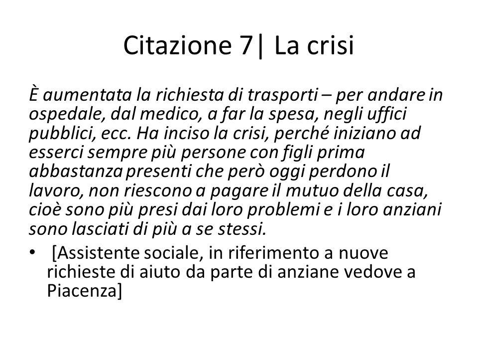 Citazione 7| La crisi È aumentata la richiesta di trasporti – per andare in ospedale, dal medico, a far la spesa, negli uffici pubblici, ecc.