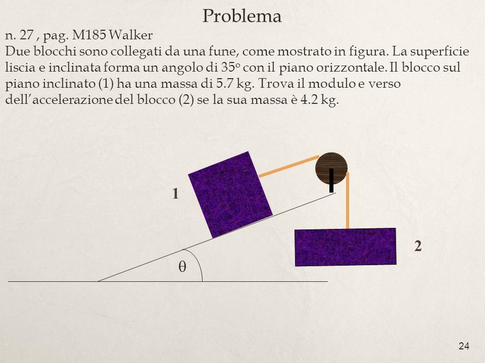 24 Problema n. 27, pag. M185 Walker Due blocchi sono collegati da una fune, come mostrato in figura. La superficie liscia e inclinata forma un angolo