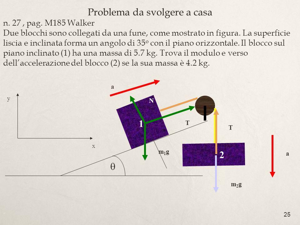 25 Problema da svolgere a casa n. 27, pag. M185 Walker Due blocchi sono collegati da una fune, come mostrato in figura. La superficie liscia e inclina