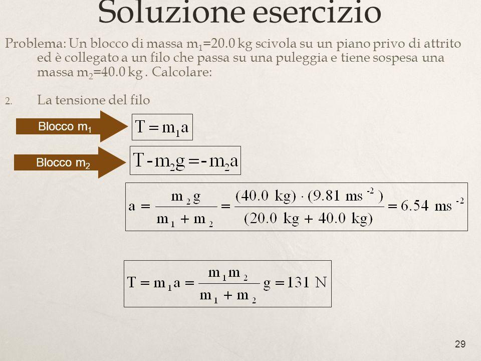 29 Soluzione esercizio Problema: Un blocco di massa m 1 =20.0 kg scivola su un piano privo di attrito ed è collegato a un filo che passa su una pulegg