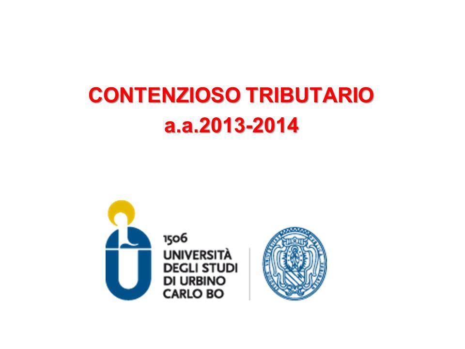 CONTENZIOSO TRIBUTARIO a.a.2013-2014