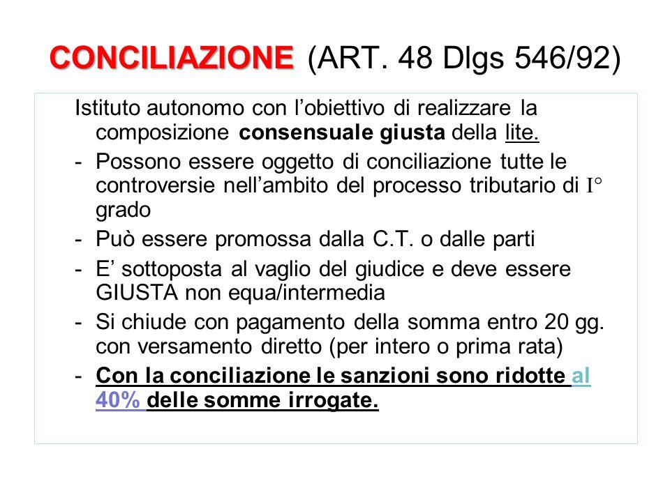 CONCILIAZIONE CONCILIAZIONE (ART. 48 Dlgs 546/92) Istituto autonomo con lobiettivo di realizzare la composizione consensuale giusta della lite. -Posso
