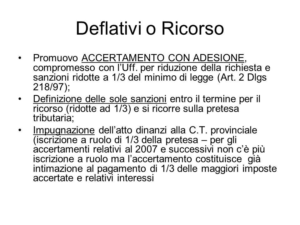 Deflativi o Ricorso Promuovo ACCERTAMENTO CON ADESIONE, compromesso con lUff. per riduzione della richiesta e sanzioni ridotte a 1/3 del minimo di leg