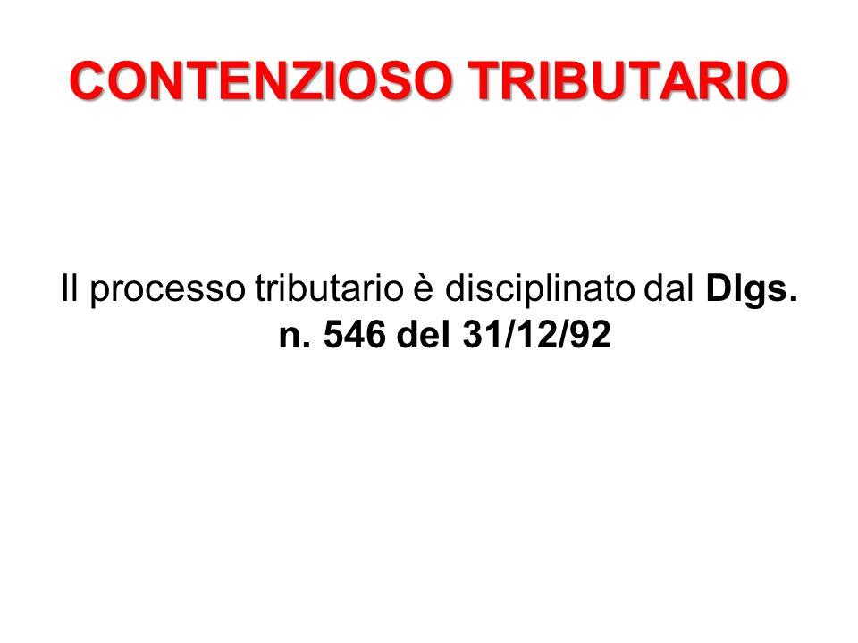 Il processo tributario è disciplinato dal Dlgs. n. 546 del 31/12/92