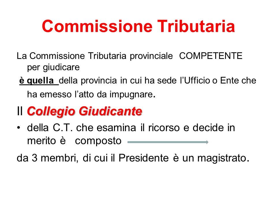 Commissione Tributaria La Commissione Tributaria provinciale COMPETENTE per giudicare è quella della provincia in cui ha sede lUfficio o Ente che ha e