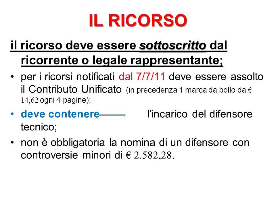 IL RICORSO sottoscritto il ricorso deve essere sottoscritto dal ricorrente o legale rappresentante; per i ricorsi notificati dal 7/7/11 deve essere as