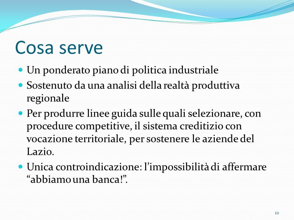 Cosa serve Un ponderato piano di politica industriale Sostenuto da una analisi della realtà produttiva regionale Per produrre linee guida sulle quali selezionare, con procedure competitive, il sistema creditizio con vocazione territoriale, per sostenere le aziende del Lazio.