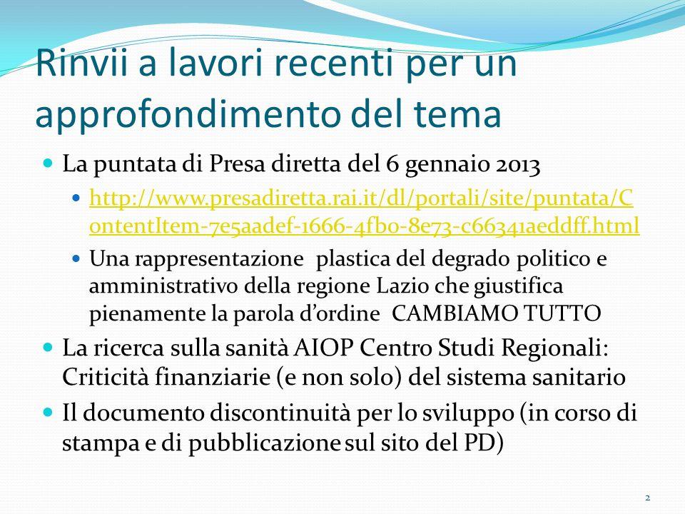 Rinvii a lavori recenti per un approfondimento del tema La puntata di Presa diretta del 6 gennaio 2013 http://www.presadiretta.rai.it/dl/portali/site/puntata/C ontentItem-7e5aadef-1666-4fb0-8e73-c66341aeddff.html http://www.presadiretta.rai.it/dl/portali/site/puntata/C ontentItem-7e5aadef-1666-4fb0-8e73-c66341aeddff.html Una rappresentazione plastica del degrado politico e amministrativo della regione Lazio che giustifica pienamente la parola dordine CAMBIAMO TUTTO La ricerca sulla sanità AIOP Centro Studi Regionali: Criticità finanziarie (e non solo) del sistema sanitario Il documento discontinuità per lo sviluppo (in corso di stampa e di pubblicazione sul sito del PD) 2