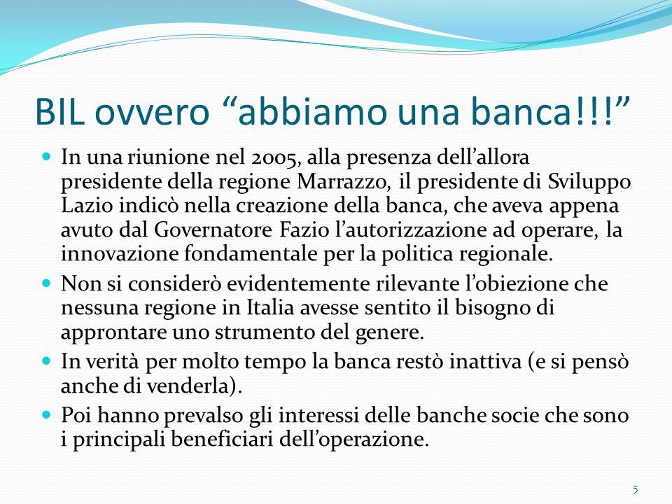BIL ovvero abbiamo una banca!!.
