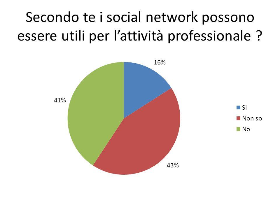 Secondo te i social network possono essere utili per lattività professionale ?